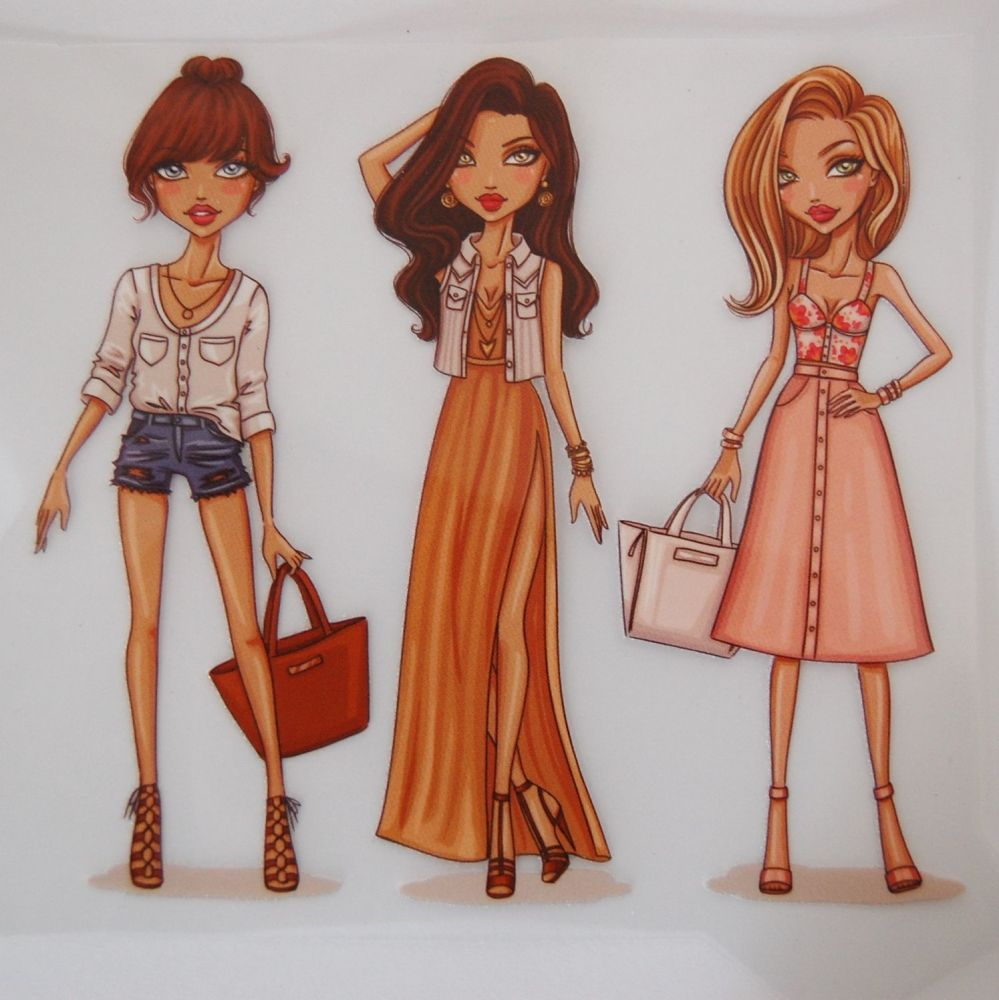 IRON ON TRANSFER 3 GIRLS WITH BAGS, 11.5CMS x 13CMS. IDEAL FOR DECORATING C