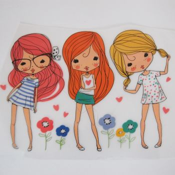 IRON ON TRANSFER 3 GIRLS WITH FLOWERS, 12CMS x 16CMS. IDEAL FOR DECORATING CUSHIONS, CLOTHES ETC.