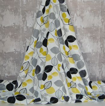 MODERN PRINTED COTTON IN OCHRE, GREY AND BLACK (SMALLER REPEAT)