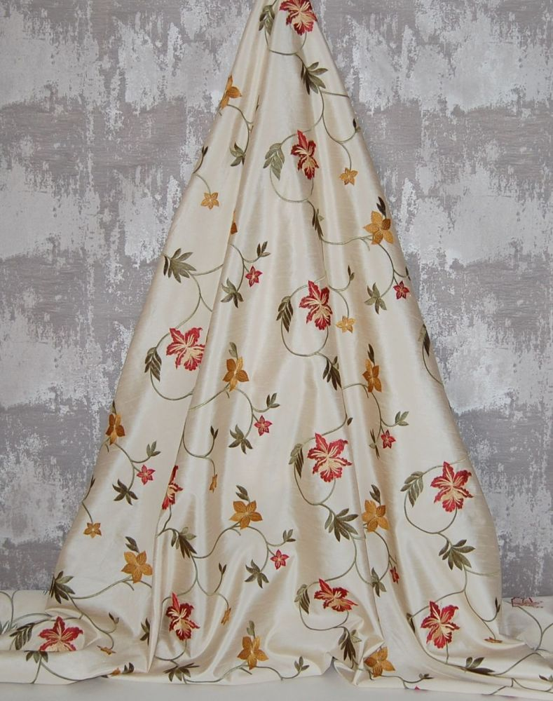 *ROLL END 2 METRES* EMBROIDERED FAUX SILK DESIGN 1