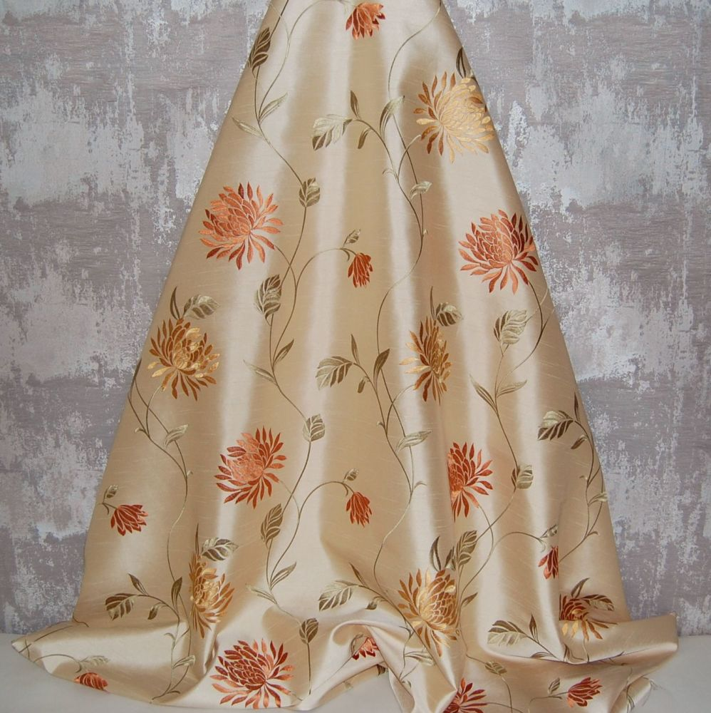 *ROLL END 2.9 METRES* EMBROIDERED FAUX SILK DESIGN 5
