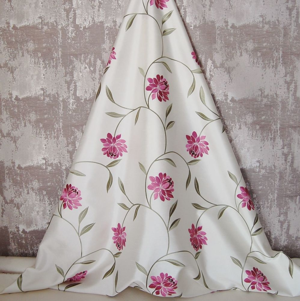 *ROLL END 2 METRES* EMBROIDERED FAUX SILK DESIGN 6