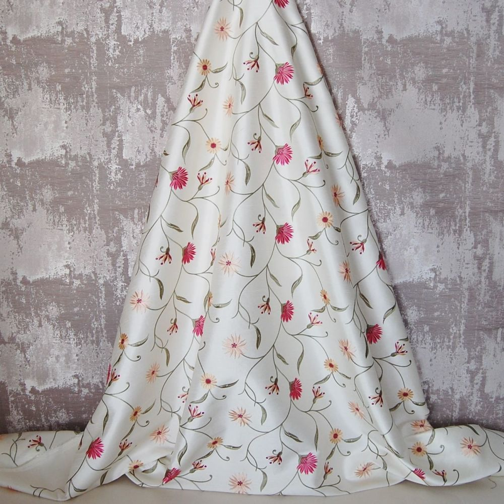 *ROLL END 2 METRES* EMBROIDERED FAUX SILK DESIGN 8