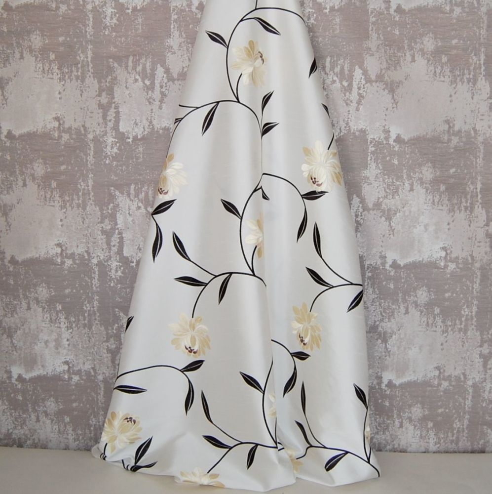*ROLL END 2 METRES* EMBROIDERED FAUX SILK DESIGN 11