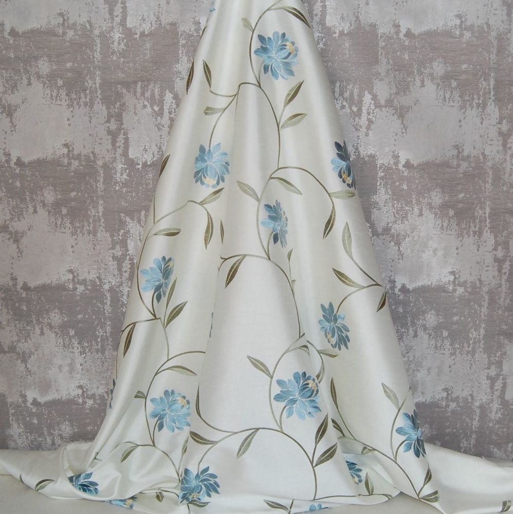*ROLL END 2.5 METRES* EMBROIDERED FAUX SILK DESIGN 12
