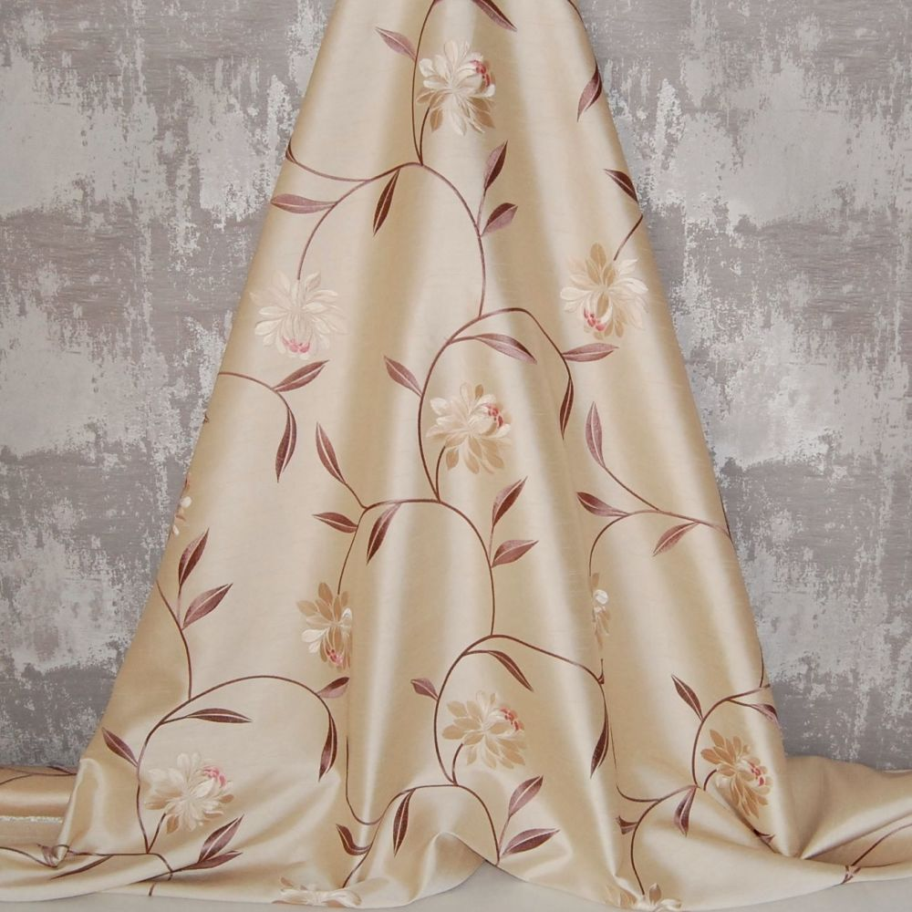 *ROLL END 2 METRES* EMBROIDERED FAUX SILK DESIGN 14