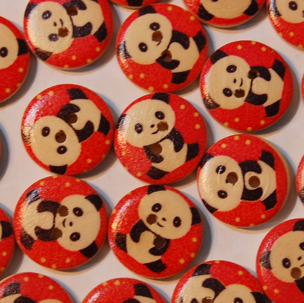PACK OF 10 WOODEN PANDA BUTTONS, 20MM - 2 HOLE.