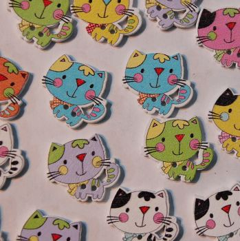 PACK OF 10 RESIN CAT BUTTON EMBELLISHMENTS - 2 HOLE.