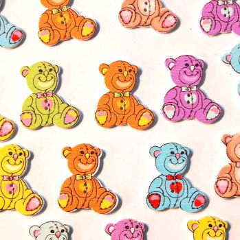 PACK OF 10 RESIN TEDDY BEAR BUTTON EMBELLISHMENTS - 2 HOLE.