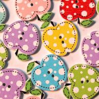 PACK OF 10 POLKA DOT APPLE BUTTON EMBELLISHMENTS - 2 HOLE.