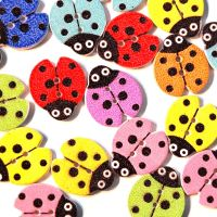 PACK OF 10 MULTI COLOURED LADYBIRDS BUTTON EMBELLISHMENTS - 2 HOLE.