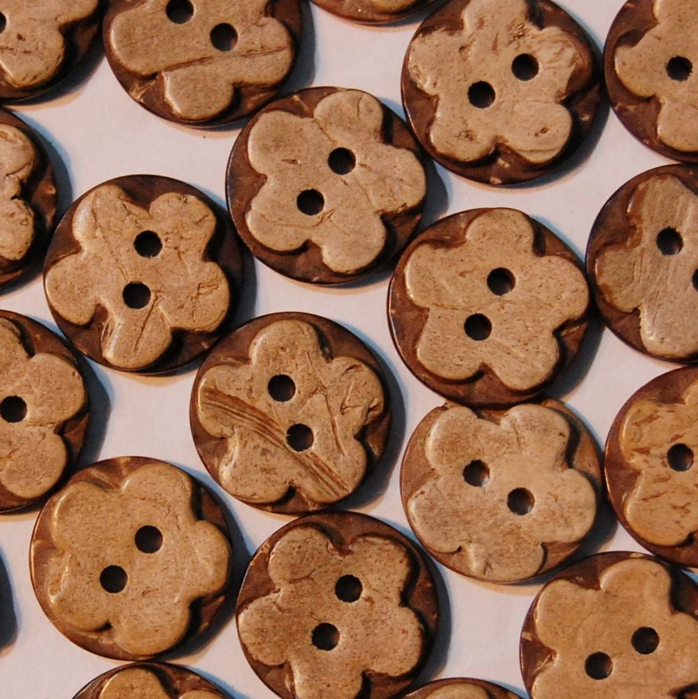 PACK OF 10 NATURAL COCONUT HENNA STAMPED FLOWER BUTTONS, 16MM - 2 HOLE.