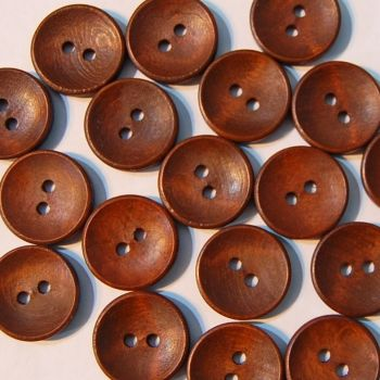 PACK OF 10 DARK WOOD BUTTONS, 20MM - 2 HOLE.