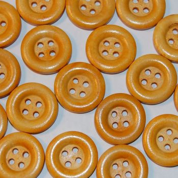 PACK OF 10 WOODEN BUTTONS, 20MM - 4 HOLE.