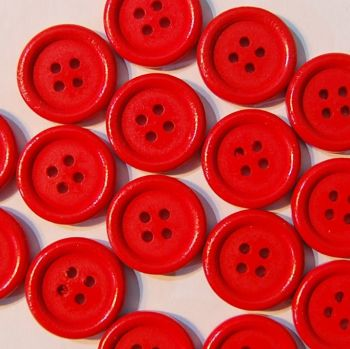 PACK OF 10 RED WOODEN BUTTONS, 20MM - 4 HOLE.