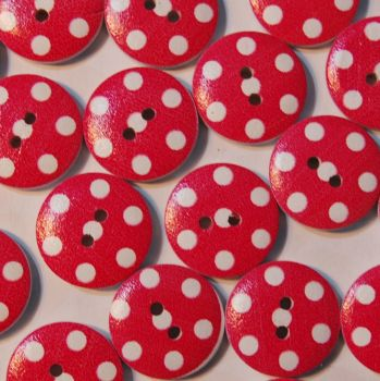 PACK OF 10 DEEP CERISE PINK POLKA DOT RESIN BUTTONS, 20MM - 2 HOLE.