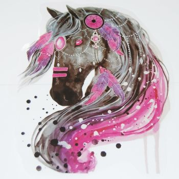 LARGE IRON ON BLACK HORSE HEAD DECORATION, 27CMS x 24CMS. IDEAL FOR DECORATING CUSHIONS, CLOTHES ETC.