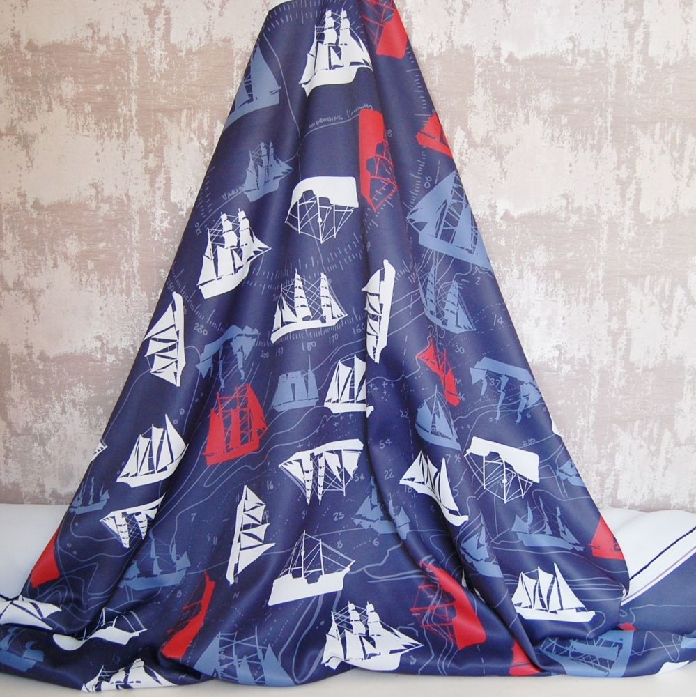 DOUBLE WOVEN SELF LINED DIM OUT WITH NAUTICAL PATTERN