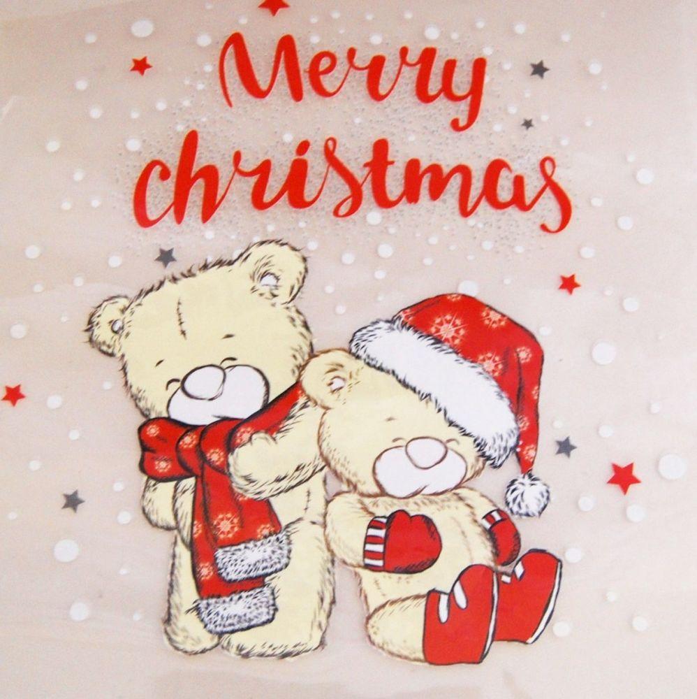 IRON ON HEAT TRANSFER,  CHRISTMAS TEDDY BEARS.  19CMS x 19CMS. IDEAL FOR DE