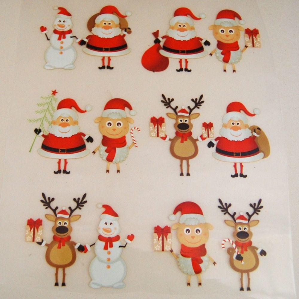 IRON ON HEAT TRANSFER,  CHRISTMAS THEME.  18CMS x 22CMS. IDEAL FOR DECORATI