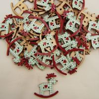 PACK OF 10 CHRISTMAS REINDEER ROCKERS BUTTON EMBELLISHMENTS - 2 HOLE.