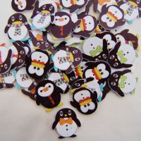 PACK OF 10 CHRISTMAS PENGUINS BUTTON EMBELLISHMENTS - 2 HOLE.