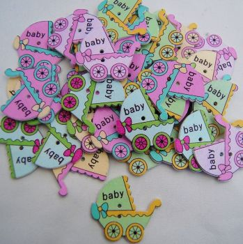 PACK OF 10 BABY PRAM BUTTON EMBELLISHMENTS - 2 HOLE.