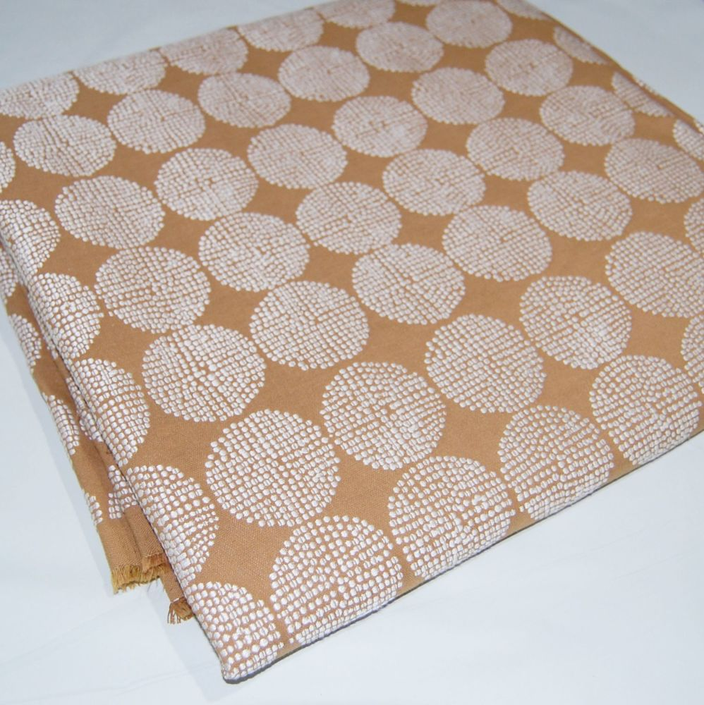 '3 METRE PIECE' CURTAIN FABRIC WITH WOVEN POLKA PATTERN.
