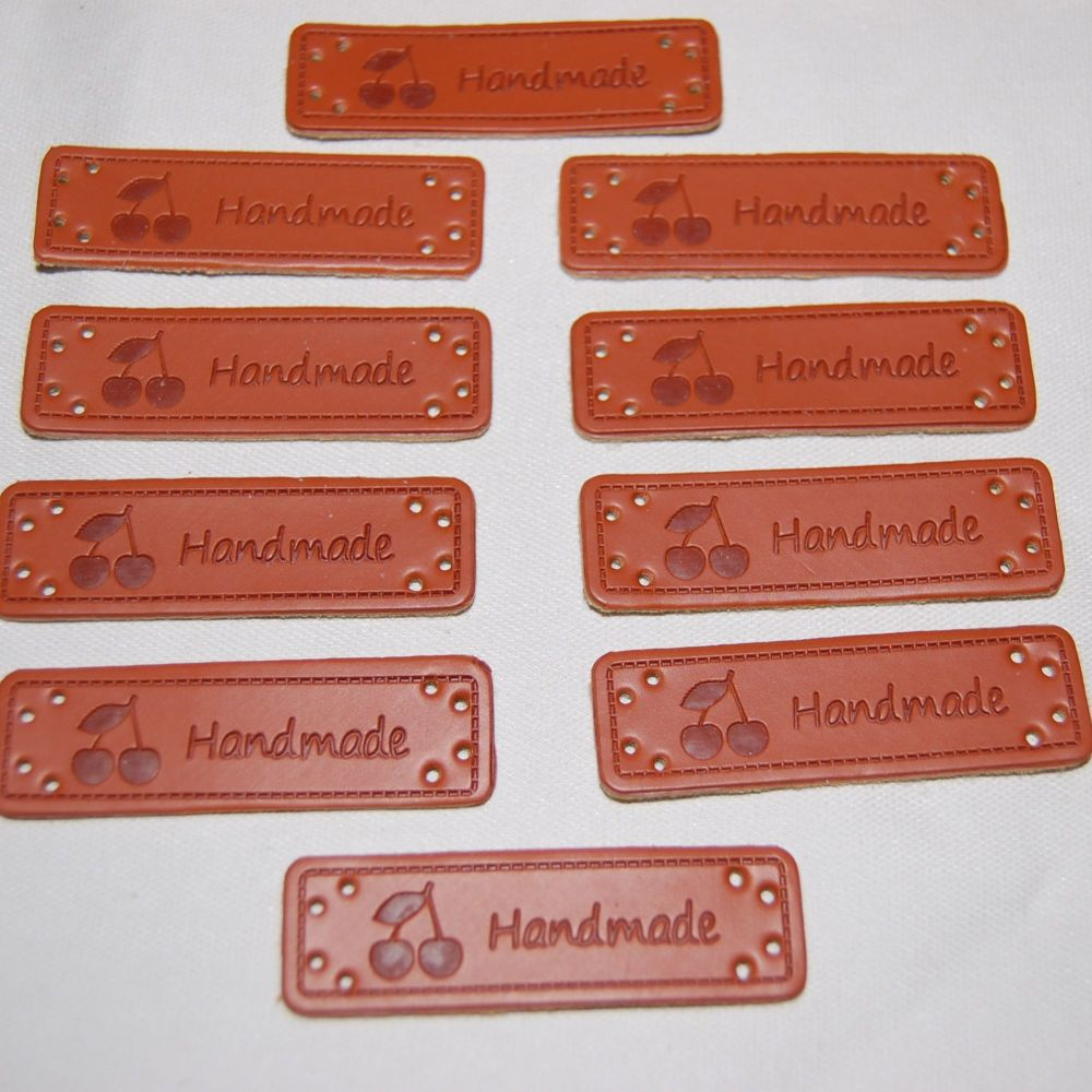 PACK OF 10 LEATHER LOOK TAGS. 'HANDMADE' WITH 2 CHERRIES.