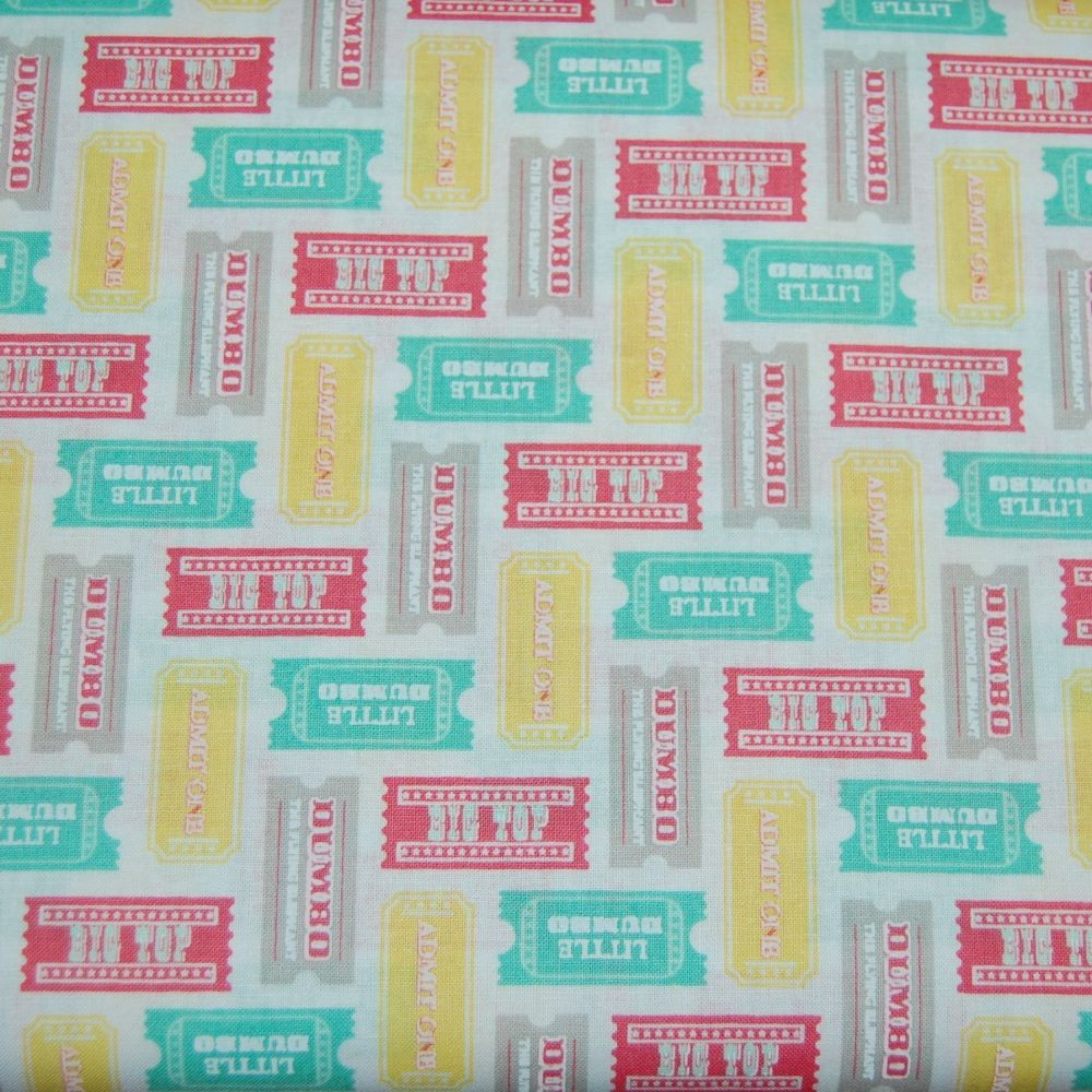 100% COTTON DUMBO BIG TOP TICKETS, MULTI COLOUR.
