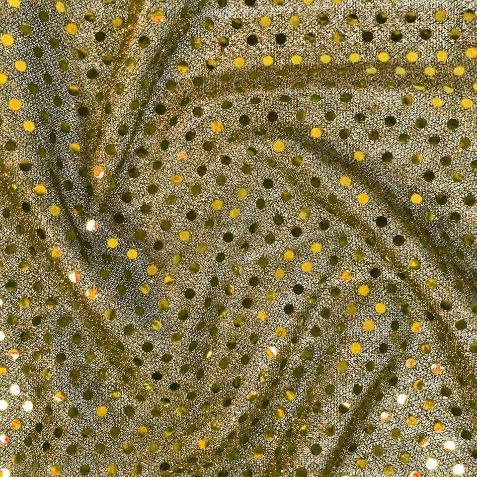 GOLD JERSEY KNIT WITH SEQUINS FOR DRESS MAKING