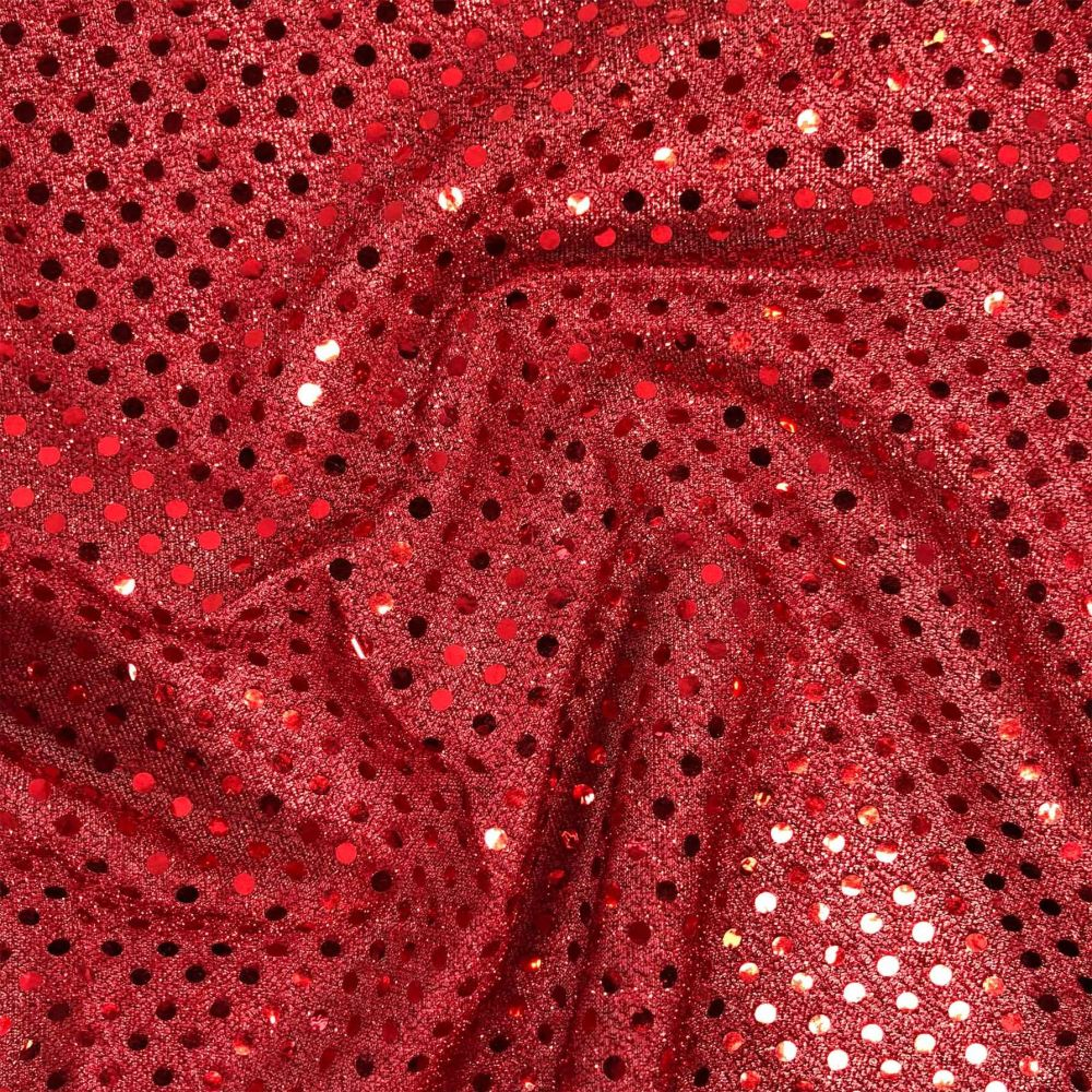 RED JERSEY KNIT WITH SEQUINS FOR DRESS MAKING