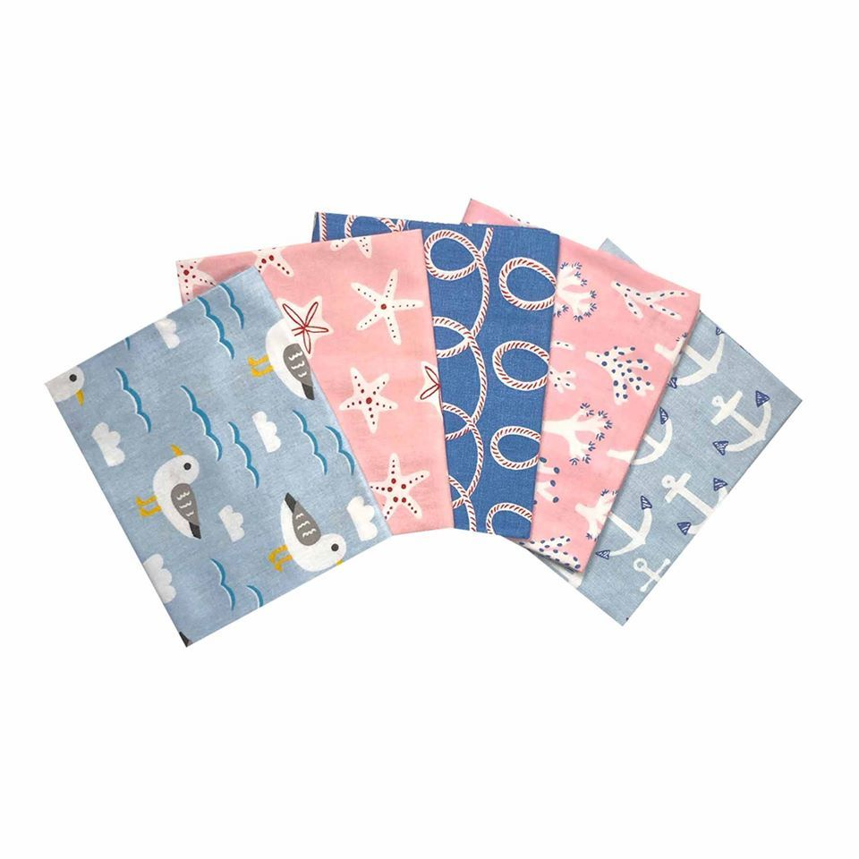 HELLO SUMMER FAT QUARTER SET, 5 PIECES. 100% COTTON.