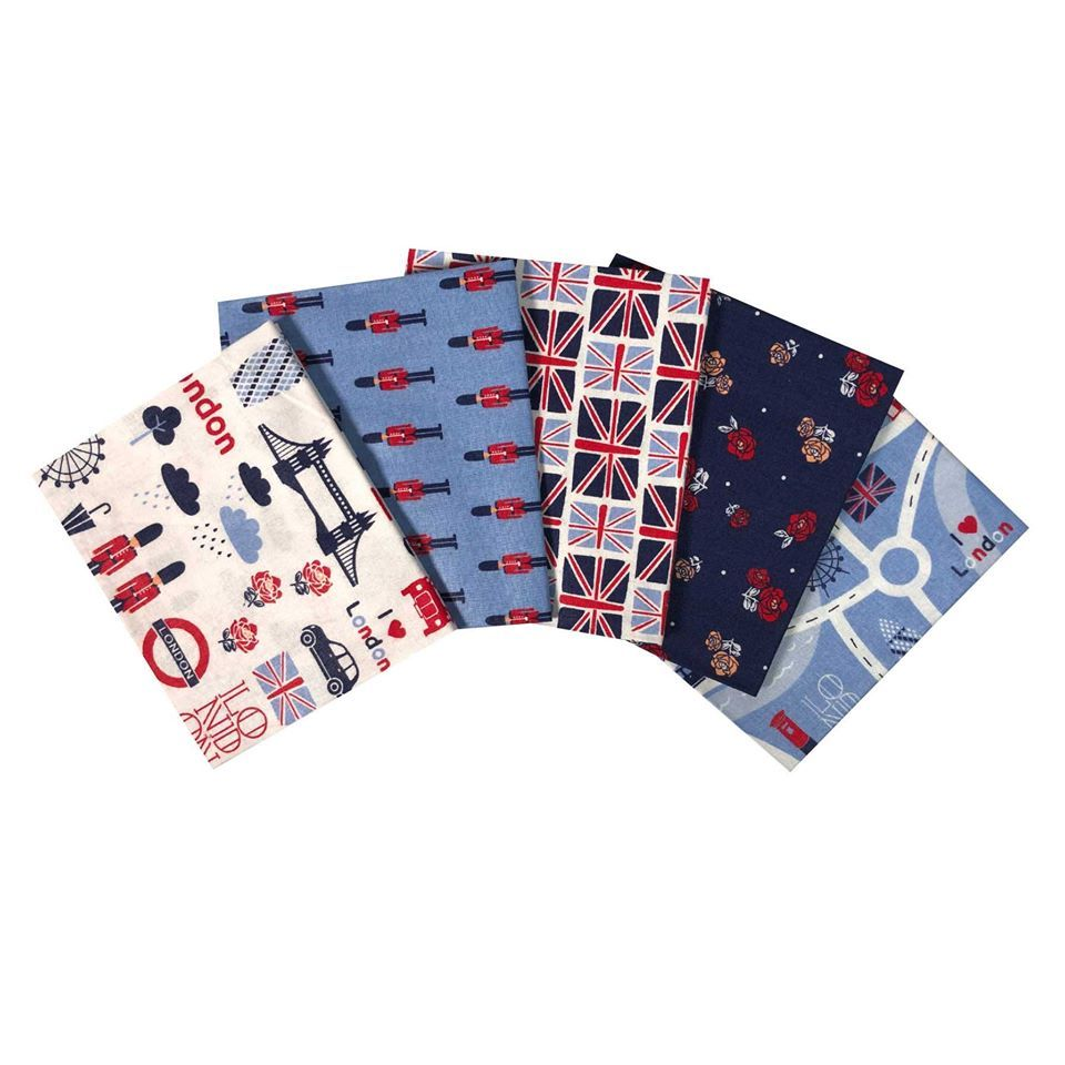 LONDON TOWN FAT QUARTER SET, 5 PIECES. 100% COTTON.