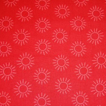 100% COTTON BY STUART HILLARD, RAINBOW ETCHINGS IN RED.