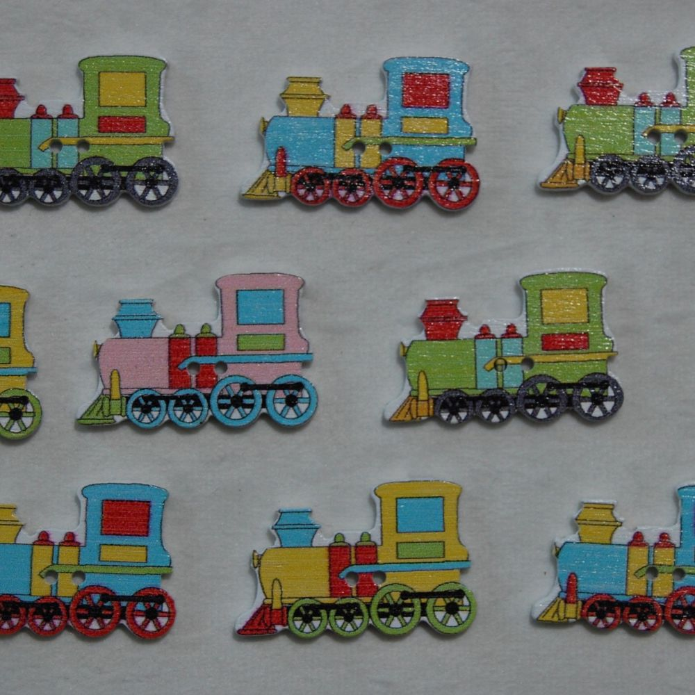 MIXED PACK OF 10 STEAM TRAIN BUTTON EMBELLISHMENTS, 2 HOLE.