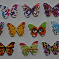 MIXED PACK OF 10 LARGE BUTTERFLY BUTTON EMBELLISHMENTS, 2 HOLE.