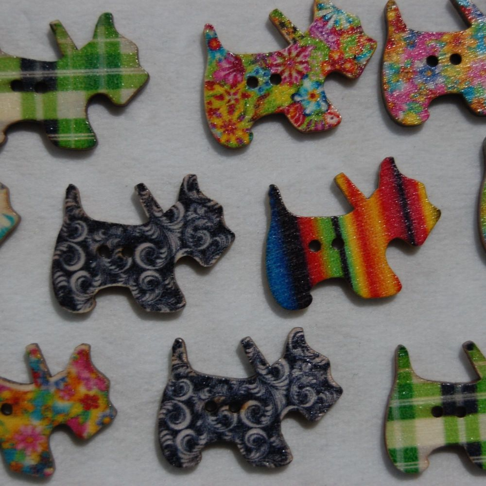 MIXED PACK OF 10 SCOTTY DOG BUTTON EMBELLISHMENTS, 2 HOLE.