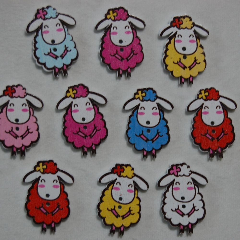 MIXED PACK OF 10 SHY SHEEP BUTTON EMBELLISHMENTS, 2 HOLE.