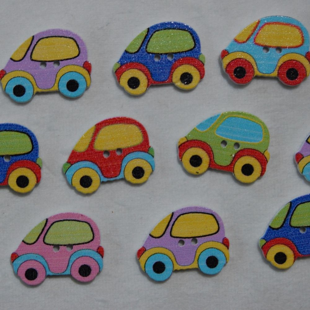 MIXED PACK OF 10 BUBBLE CAR BUTTON EMBELLISHMENTS, 2 HOLE.