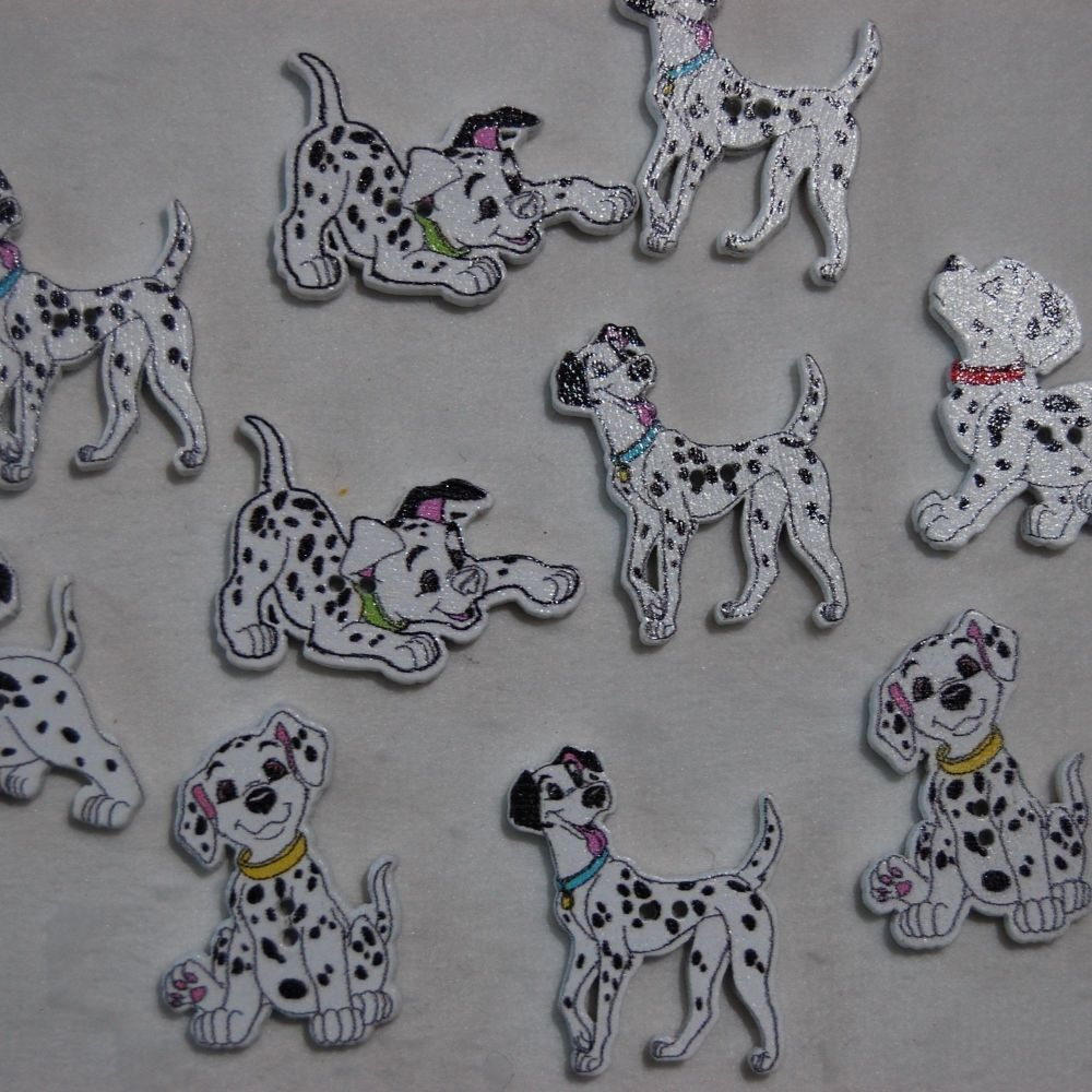 MIXED PACK OF 10 DALMATION DOG BUTTON EMBELLISHMENTS, 2 HOLE.