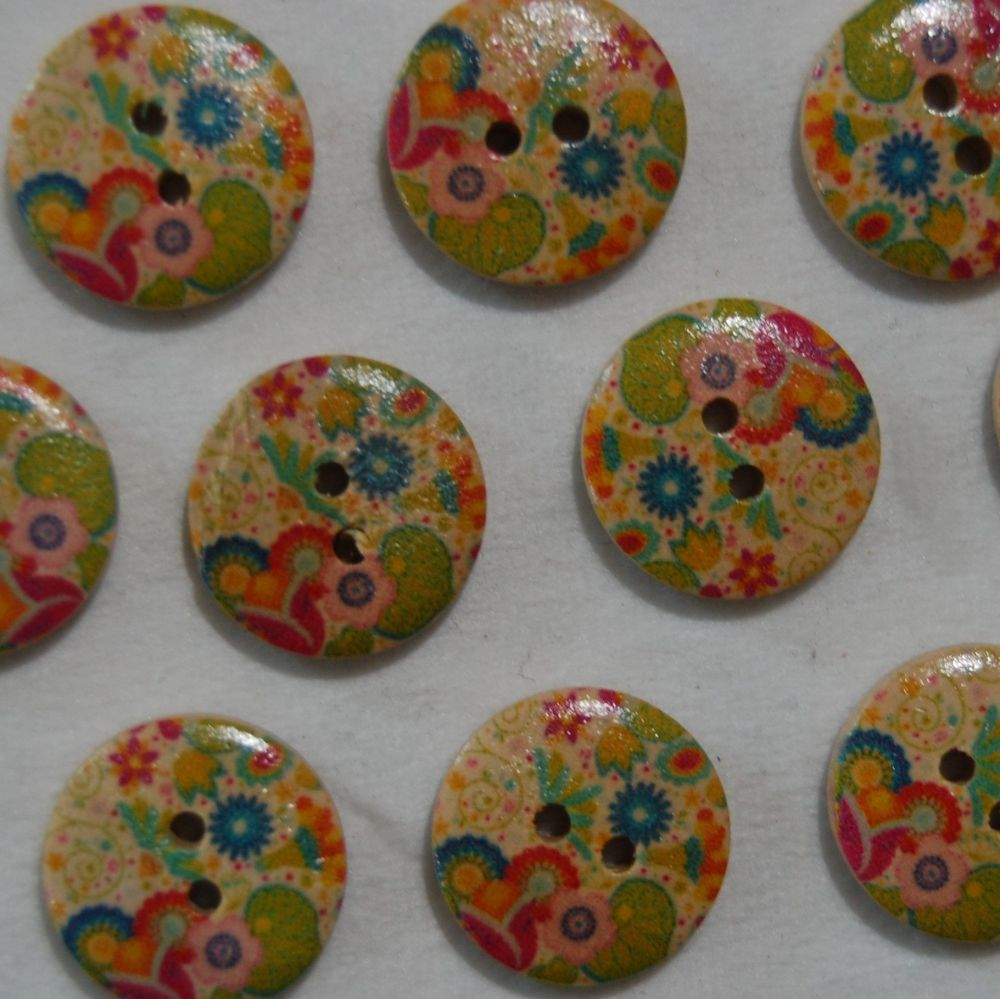 PACK OF 10 HIPPY FLOWER RESIN BUTTONS, 20MM - 2 HOLE.