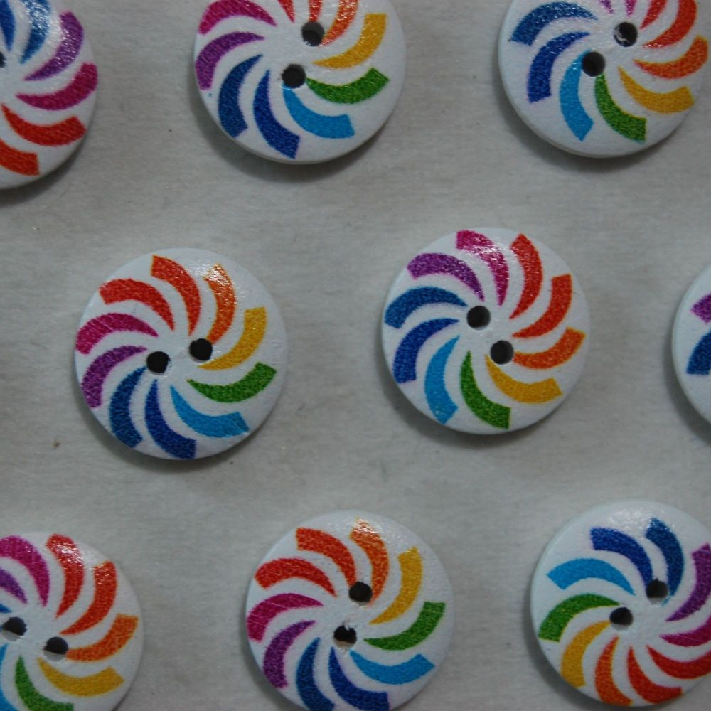 PACK OF 10 MULTI SWIRL RESIN BUTTONS, 20MM - 2 HOLE.