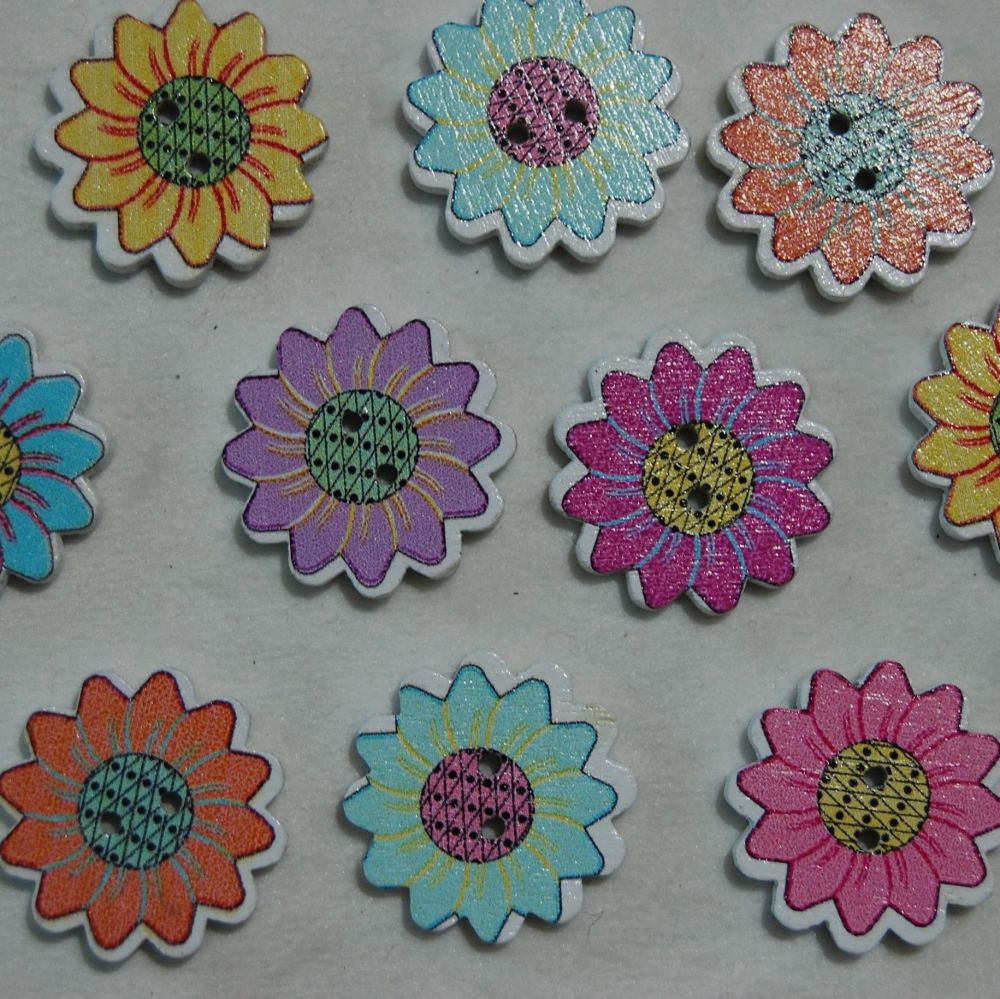 PACK OF 10 DAISY FLOWER BUTTON EMBELLISHMENTS, 21MM.
