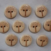 PACK OF 10  WOODEN TREE BUTTONS, 22MM - 2 HOLE.