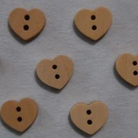 PACK OF 10 SMALL WOODEN HEART BUTTON EMBELLISHMENTS, 12MM X 12MM.