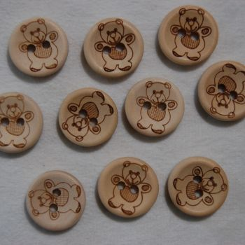 PACK OF 10  WOODEN TEDDY BEAR BUTTONS, 15MM - 2 HOLE.