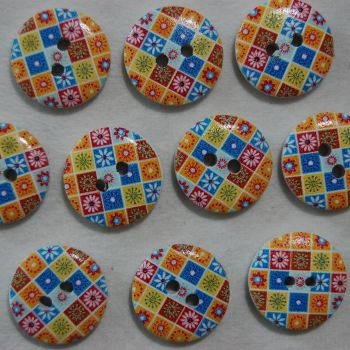 PACK OF 10 MULTI TILE RESIN BUTTONS, 20MM - 2 HOLE.