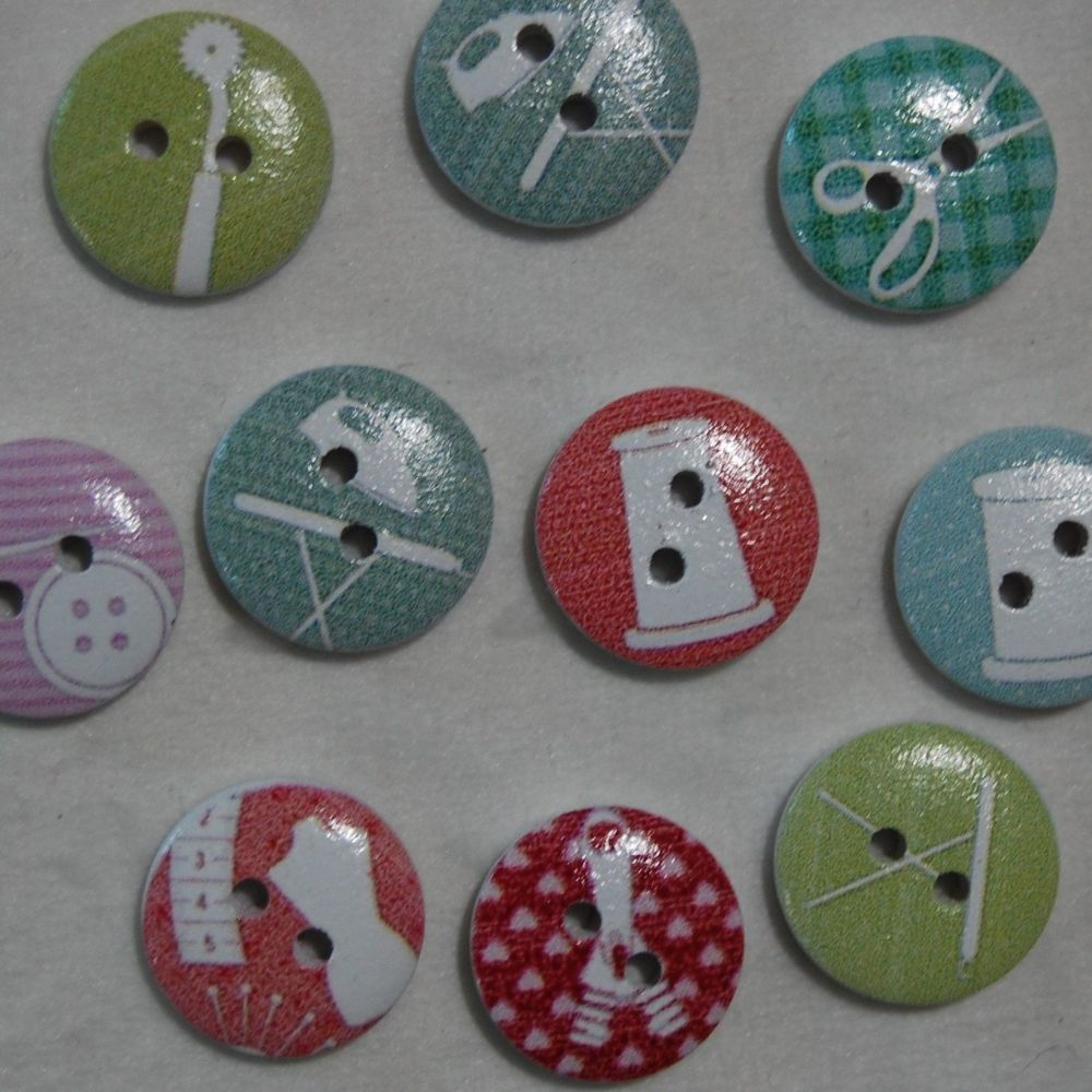 PACK OF 10 SEWING RELATED RESIN BUTTONS, 15MM - 2 HOLE.