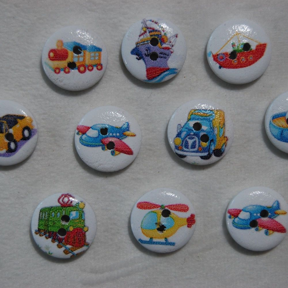 PACK OF 10 VEHICLE RELATED RESIN BUTTONS, 15MM - 2 HOLE.